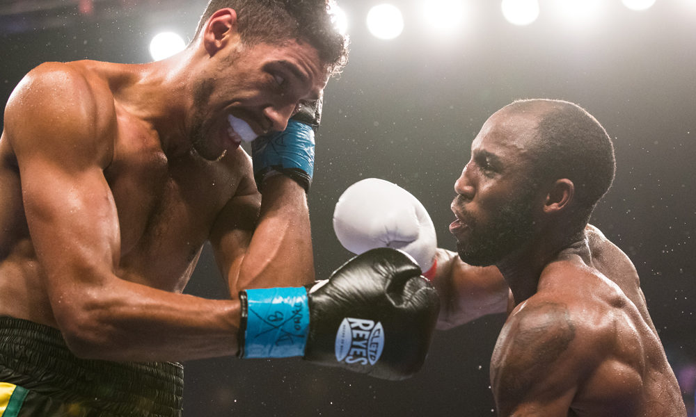 Photograph by Brett Carlsen  Welterweight Yordenis Ugas defeats Jamal James by decision. ESPN Friday Night Fights at Turning Stone Casino in Verona, New York on 8/12/16.
